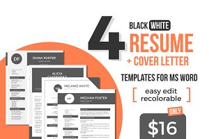 Black white Word resume bundle