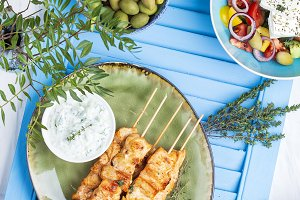 Traditional greek chicken souvlaki