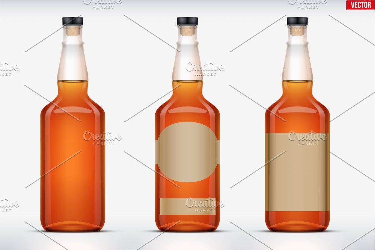 Whiskey bottle set mockup