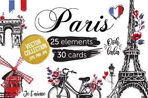 Paris Landmarks Sights Set & 30Cards