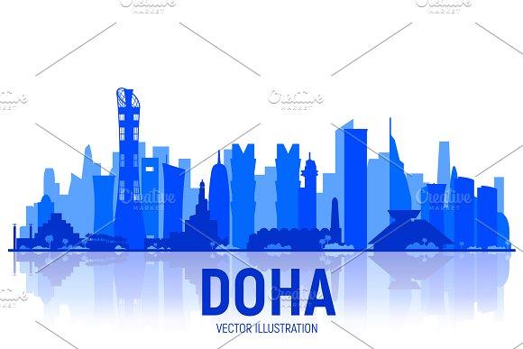 Doha ( QATAR ) skyline  Vector