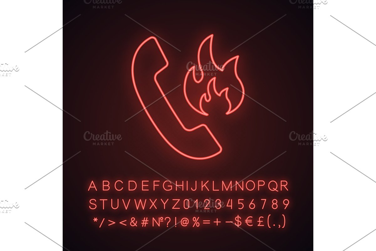 Hotline support neon light icon