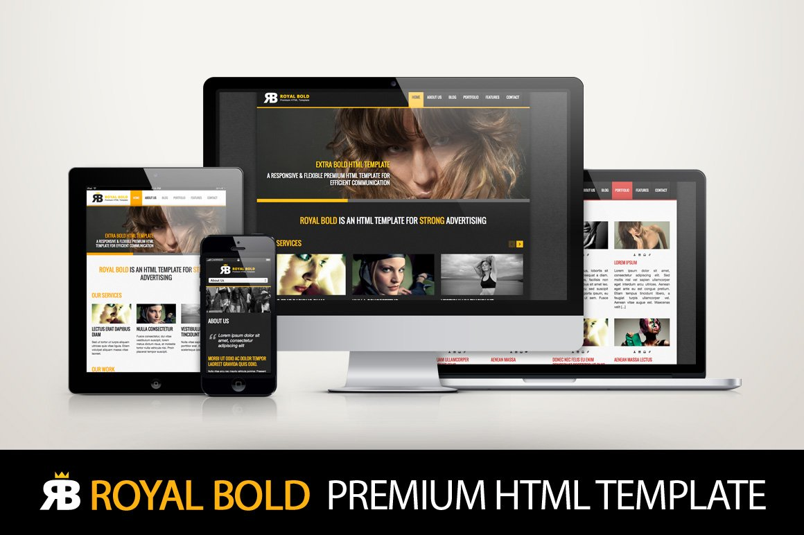 Royal Bold - Premium HTML template ~ Website Templates ~ Creative Market