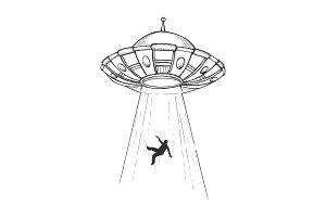UFO kidnaps human engraving vector
