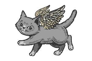 Angel flying kitten color sketch