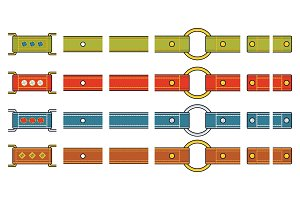 Set of fashionable colored straps