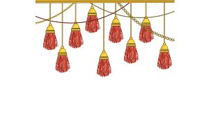 Hanging down heavy silk tassels with