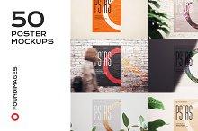 50 poster mockup bundle glued paper
