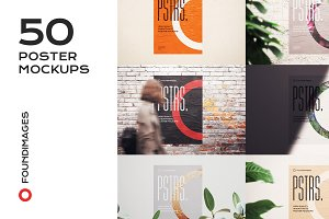 50 poster mockup bundle glued paper