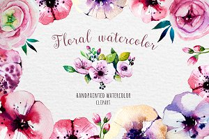 Floral watercolor set