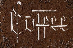 Calligraphic inscription coffee