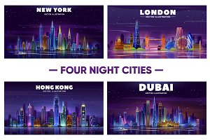 Night cities skyline. Dubai