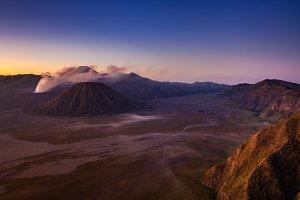 Bromo volcano at sunrise, Java, Indo