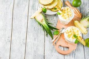 Pineapple breakfast parfait