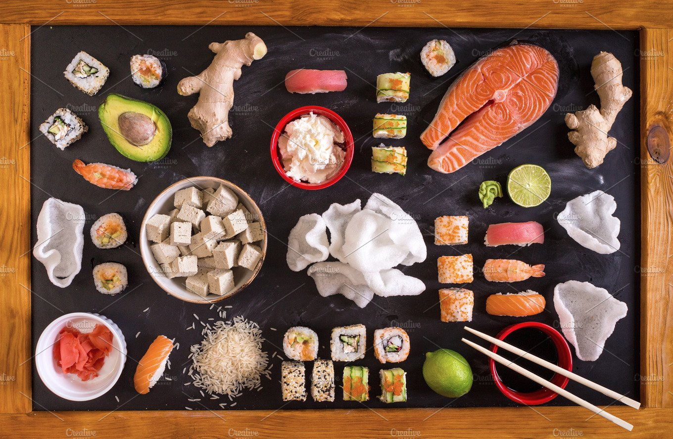 Set of sushi and japanese food food drink photos for Abis japanese traditional cuisine