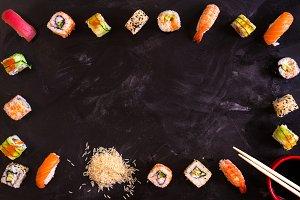Japanese food frame. Sushi