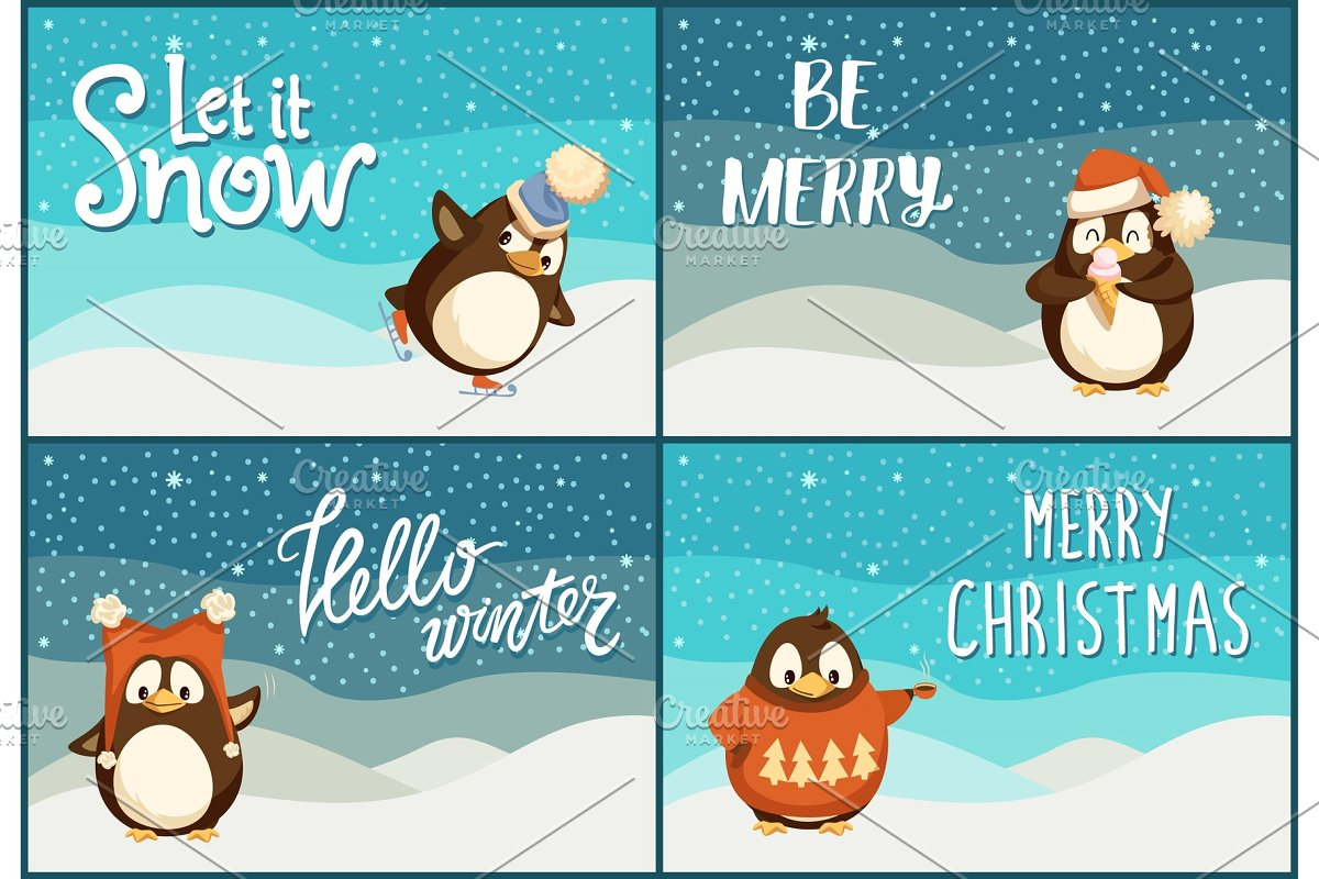 North Pole Cartoon Penguins in Warm in Objects - product preview 8
