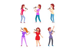 Music Singers Characters Microphones