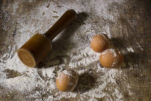 Eggs on a wooden background.