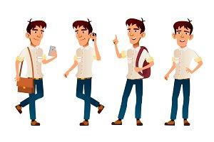 Asian Boy Vector. High School Child