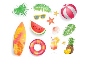 Summer Tropical Items Icons Vector