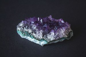 Close-up of amethyst stone druse