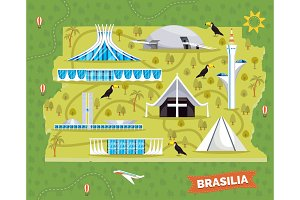 Brazil map with sightseeing places