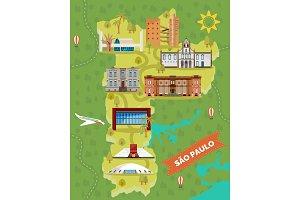 Sao Paulo map with famous landmarks