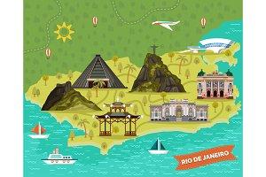 Rio de Janeiro, Brazil city map with