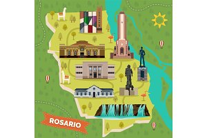 Sightseeing landmarks map of Rosario