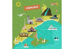 Ushuaia town map with sights