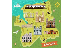Landmarks on map of Sao Luis. Brazil