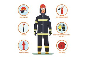 Firefighter or fireman with helmet