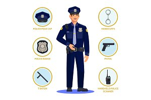 Policeman or police officer, cop in