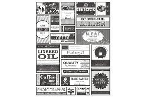Set of retro or vintage labels or
