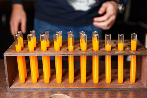 Photo of test tubes with orange
