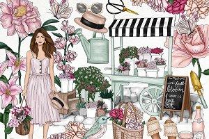 Flower Garden Fashion Girl Clip Art