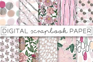 Pink Florals Abstract Digital Papers