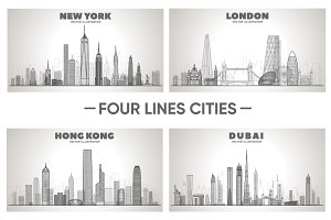 Line skylines cities. New York