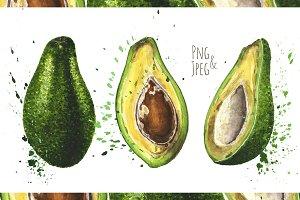 Hand-drawn watercolor Avocado