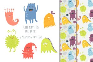 Set of funny cute cartoon monsters