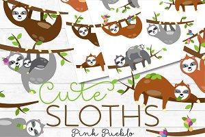 Cute Sloth Clipart and Vectors