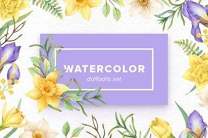 Watercolor Daffodils Set
