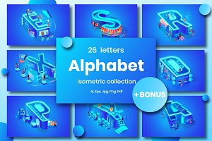 Blue Alphabet Character Isometric