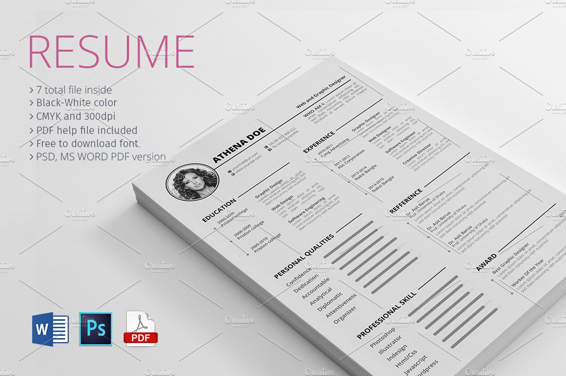 Resume With MS Word ~ Resume Templates ~ Creative Market