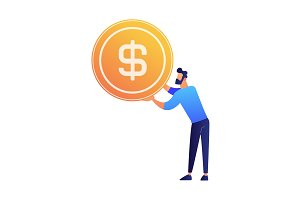 Businessman holding a huge dollar