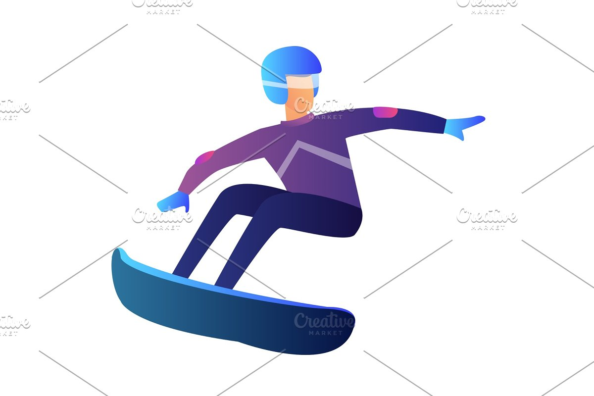 Riding Snowboarder Vector