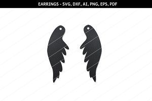 Angel wings svg,cricut,earrings file