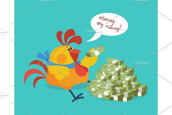 Rooster Bird Counts Money. Cock Rich