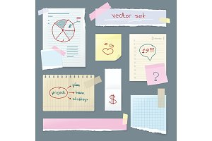 Vector Set Office Paper. Folded